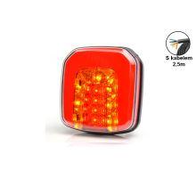 Zadní sdružené světlo LED, 102x108x38-46mm, s kabelem (obrys., brzdové, směrové světlo)